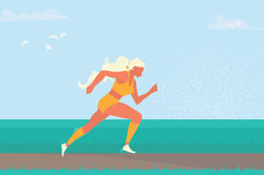Woman running. Girl run, jogge. Sport. Tournament. Summertime Sport wear Vector illustration Royalty Free Stock Image