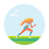Woman running. Girl run, jogge. Sport. Tournament. Summertime Sport wear Vector illustration Royalty Free Stock Images