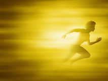 Woman running for gold Stock Image