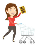 Woman running in hurry to the store on sale. Royalty Free Stock Images
