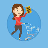 Woman running in hurry to the store on sale. Royalty Free Stock Photos
