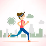 Woman running jogging city run training marathon sport. Woman running jogging marathon individual sport character city run training lifestyle Royalty Free Stock Images
