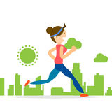 Woman running jogging city run training marathon sport. Woman running jogging marathon individual sport character city run training lifestyle Stock Photography