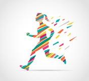Woman running, jogging - colorful illustration Royalty Free Stock Image