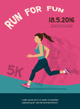 Woman running, jogging - colorful illustration. poster design Royalty Free Stock Photos