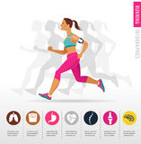 Woman running, jogging - infographic Royalty Free Stock Photo
