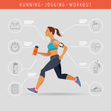 Woman running, jogging - infographic Stock Photography