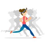 Woman running, jogging, marathon sport Royalty Free Stock Images