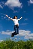 Woman running, jumping Royalty Free Stock Photography