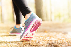 Woman running legs in sunset forest. Light stock images