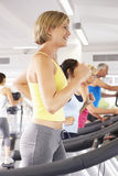 Woman On Running Machine In Gym Royalty Free Stock Photos