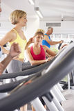 Woman On Running Machine In Gym Encouraged By Personal Trainer Royalty Free Stock Photos