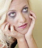 Woman with running mascara Royalty Free Stock Image