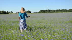 Woman running meadow stock video footage