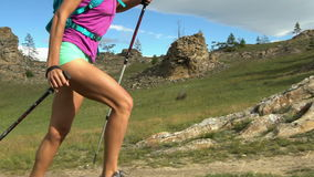 Woman Running on Mountain Trail. stock footage