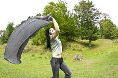 Woman running in  nature Stock Photos