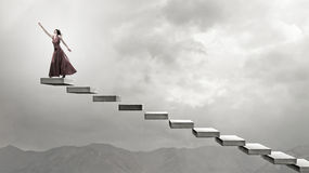 Woman Running On Stairs Royalty Free Stock Photos
