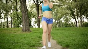 Woman Running In The Park stock video