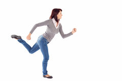 Woman in Running Pose Stock Photo