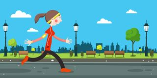 Woman Running on Road in City Park. Vector Stock Illustration