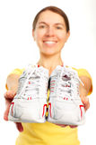 Woman, running shoes. Fitness, work out, health. Isolated over white background royalty free stock photos