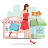 Woman Running with Shopping Bags. Illustration of a woman shopping with shopping bags Royalty Free Stock Images