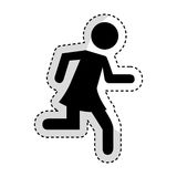 Woman running silhouette emblem icon. Vector illustration design Royalty Free Stock Photography