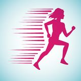 Woman running silhouette. Icon vector illustration graphic design Royalty Free Stock Photo