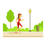 Woman Running In Sportive Clothes On The Street, Part Of People In The Park Activities Series Stock Photo