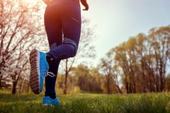 Woman running in spring forest. Close-up of sneakers. Helathy lifestyle concept. Active sportive people
