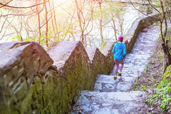 The woman running the stairs in the Park. Stock Image