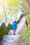 The woman running the stairs in the Park. The girl goes in for sports in the nature. Jogging in the spring woods Royalty Free Stock Images