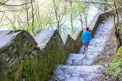 The woman running the stairs in the Park. The girl goes in for sports in the nature. Jogging in the spring woods Royalty Free Stock Photo