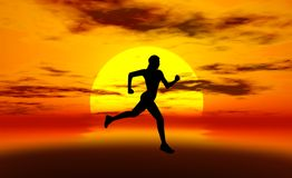 Woman Running In Sun. Silhouette of woman running with sun behind her and shades of orange and red Royalty Free Stock Photo