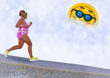 Woman Running Sunny Day Illustration Royalty Free Stock Photo