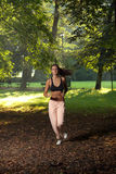 Woman running at sunrise. Attractive young woman jogging in the part at sunset or sunrise Royalty Free Stock Photography