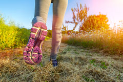 Woman running at sunset in a field Stock Images