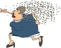 Woman Running From A Swarm Of Bees. This illustration depicts a chubby woman being chased by a swarm of angry bees Royalty Free Stock Images
