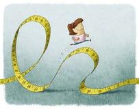 Woman running on tape measure stock illustration