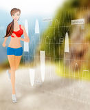 Woman running technology Stock Image