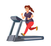 Woman running on treadmill. Color vector young woman running on treadmill Royalty Free Stock Photo