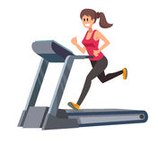 Woman running on treadmill Royalty Free Stock Image