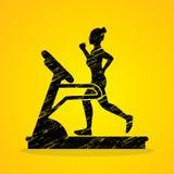 Woman running on treadmill. Graphic vector Stock Photos