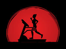 Woman running on treadmill. Graphic vector Stock Image
