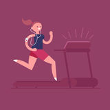 Woman running on treadmill. Young adult woman listening to music while running on a treadmill. Vector illustration Royalty Free Stock Photography
