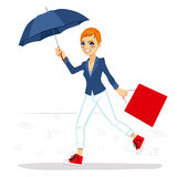 Woman Running With Umbrella Royalty Free Stock Image