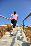 Woman running up on mountain stairs Stock Photos