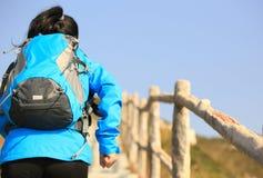 Woman running up to mountain peak Royalty Free Stock Photos