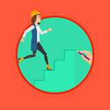 Woman running upstairs. Royalty Free Stock Image