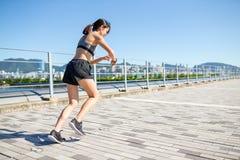 Woman running at urban of Hong Kong Royalty Free Stock Photography